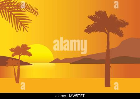 Sandy beach on the sea shore with rising sun and palms under orange morning sky - vector - Stock Photo