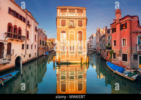 Venice. Cityscape image of narrow canals in Venice during sunset. - Stock Photo
