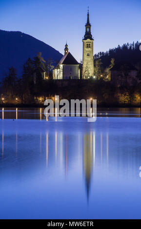 Lake Bled and the church in Slovenia - Stock Photo