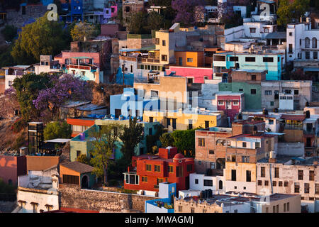 The view from the hill above GUANAJUATO is a great place to see the city at sunset - MEXICO - Stock Photo
