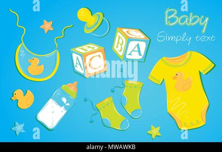 Baby clothes with a bottle nipple cubes on blue background - Stock Photo