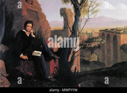 .  English: Posthumous Portrait of Shelley Writing Prometheus Unbound, oil on canvas. Keats-Shelley Memorial House, Rome, Italy. . 1845  325 Joseph Severn - Posthumous Portrait of Shelley Writing Prometheus Unbound 1845 - Stock Photo