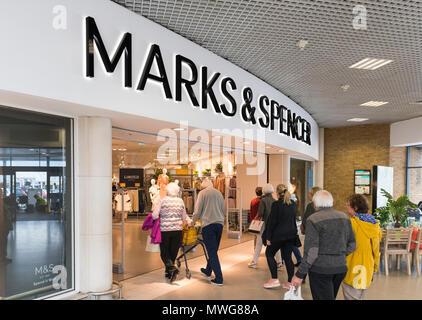 Marks and Spencer shop front. M&S store front in Holmbush Shopping Centre, Shoreham, West Sussex, England, UK. Shopping mall. Retail store. - Stock Photo