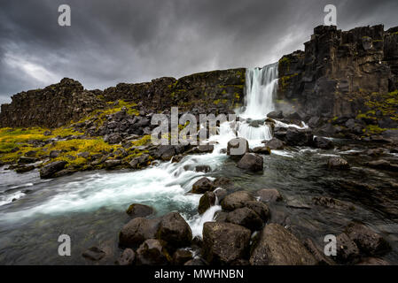 the first of uncountable Waterfalls we encountered in Iceland - Stock Photo