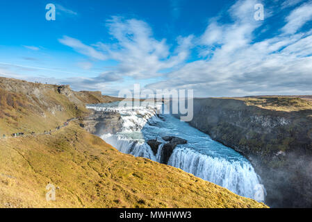 Gullfoss Waterfall at Golden Circle in Iceland - Stock Photo