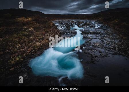 natural whirlpool at bruarfoss, iceland - Stock Photo