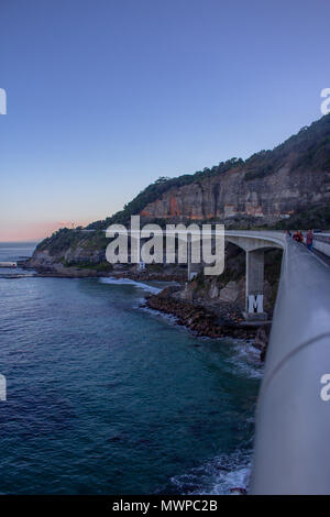 The Sea-Cliff bridge as seen from the middle of the bridge - Stock Photo