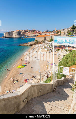 View over Banje Beach and the old town of Dubrovnik in the background, Dubrovnik, Croatia, Europe - Stock Photo