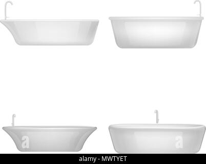 Bathtub interior mockup set, realistic style - Stock Photo