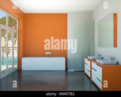 modern orange bathroom interior 3d rendering mock up - Stock Photo