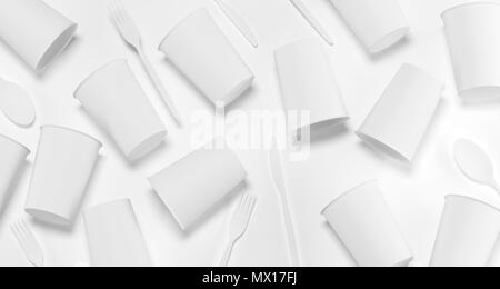 White Realistic Plastic Cups, Forks, Spoons And Knifes Top View 3D Rendering Illustration - Stock Photo