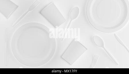 White Realistic Plastic Cups, Plates, Forks, Spoons And Knifes Top View 3D Rendering Illustration - Stock Photo