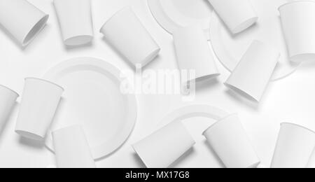 White Realistic Plastic Cups And Plates Top View 3D Rendering Illustration - Stock Photo