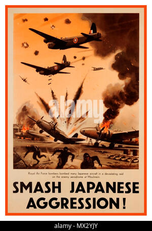 Vintage 1940's British WW2 propaganda poster 'Smash Japanese Aggression' with RAF aircraft on a bombing run at a Japanese aerodrome Moulmein South East Asia - Stock Photo
