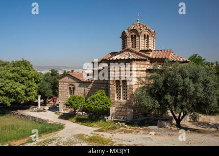 The Church of the Holy Apostles, also known as Holy Apostles of Solaki, is located in the Ancient Agora of Athens, Greece, next to the Stoa of Attalos - Stock Photo