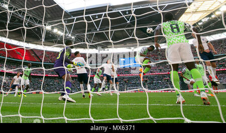 London, UK. 2nd June, 2018. John Obi Mikel (5th R) of Nigeria heads for the ball during the International Friendly Football match between England and Nigeria at Wembley Stadium in London, Britain on June 2, 2018. England won 2-1. Credit: Han Yan/Xinhua/Alamy Live News - Stock Photo