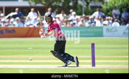 Eastbourne UK 3rd June 2018  - Laurie Evans batting for Sussex during the Royal London One Day cricket match between Sussex Sharks and Essex Eagles at The Saffrons ground in Eastbourne UK Photograph taken by Simon Dack Credit: Simon Dack/Alamy Live News - Stock Photo