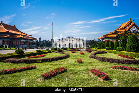 Scenic view of Liberty Square with archway National Theater and National Concert Hall close to Chiang Kai Shek Memorial Hall in Taipei Taiwan HDR - Stock Photo