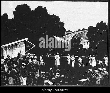 1930 wood-cut (wood block or lino-cut) hand engraved picture of a 1930 village cricket team playing a local match - Stock Photo