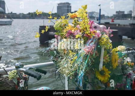 Amsterdam, Netherlands - May 17, 2018: Decorated bike in Amsterdam - Stock Photo