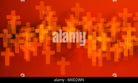 beautiful bokeh made of blurred lights in the form of cross on red background - Stock Photo