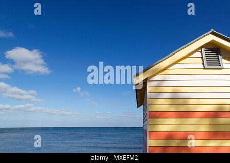 Close up view of Melbourne's colourful Bathing Boxes on Brighton Beach. The bathing huts are a major tourist attraction on the Port Phillip Bay coast - Stock Photo