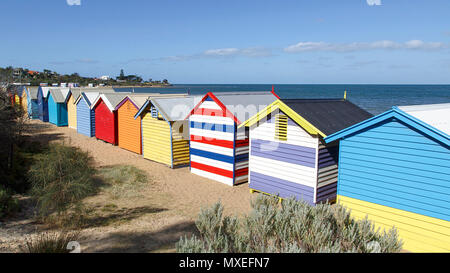 Panoramic view of the iconic, colourful bathing boxes on Brighton Beach - Melbourne - Stock Photo