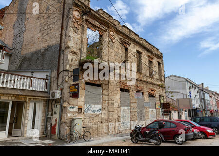 A Bosnian War (Homeland War) damaged building in Mostar, the Federation of Bosnia and Herzegovina. - Stock Photo