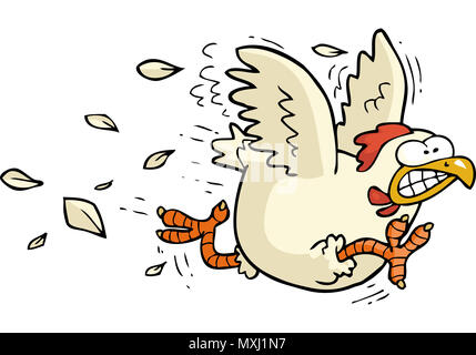 Cartoon doodle running chicken on a white background raster version illustration - Stock Photo