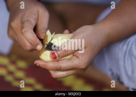 Woman prepare food, pill potato skin with knife - Stock Photo
