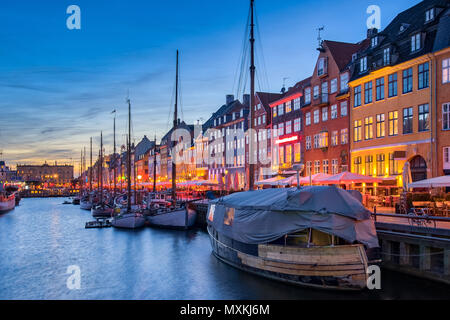 Copenhagen city skyline with view of Nyhavn in Copenhagen, Denmark. - Stock Photo