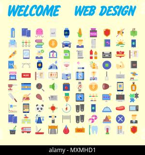 100 universal icons for web design on different topics. Vector illustration - Stock Photo
