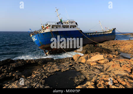 Shipwreck of the Togo-registered vessel Hephaestus, which ran aground on 10 February 2018 in Qawra village, Malta. - Stock Photo