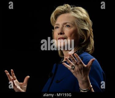 CORAL GABLES, FL - FEBRUARY 26: Hillary Rodham Clinton, Former Secretary of State speaks during an event at the University of Miam is BankUnited Center on February 26, 2014 in Coral Gables, Florida. Clinton is reported to be mulling a second presidential run  People:  Hillary Rodham Clinton - Stock Photo
