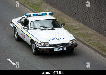 Jaguar 3.6 XJ-S former police car in a Performance Heritage Cars Speed Demonstration Lap on Coventry Ring Road. - Stock Photo