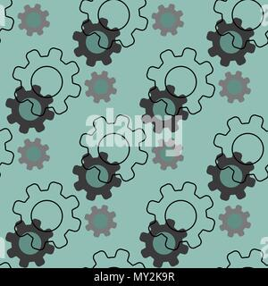 Black gears seamless pattern isolated on blue. Wheels or cogs. Repeat texture. Infinite tiles - Stock Photo