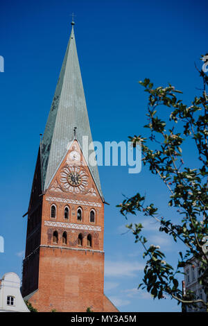 Tower of the St. Johannis church of Luneburg, Germany - Stock Photo
