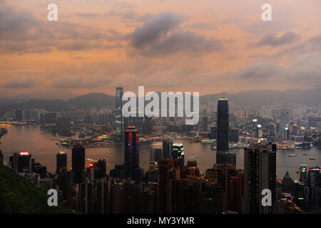 A view of Hong Kong island and Kowloon as seen from Victoria peak. - Stock Photo