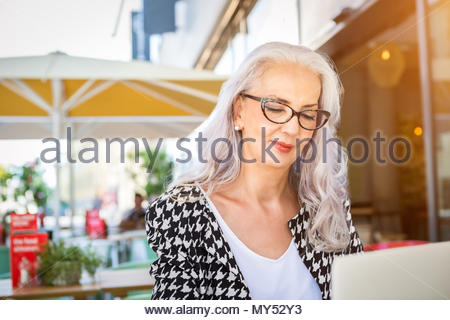 Attractive businesswoman concentrating on her work as she sits in a bright airy restaurant typing on her laptop - Stock Photo