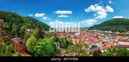 Beautiful Germany, panoramic image of Heidelberg town in Spring - Stock Photo