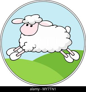 Vector Landscape background with cartoon sheep - Stock Photo