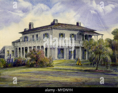 . English: Elmsley Villa, circa 1840, on the corner of Bay and Grosvenor Streets, Toronto. Built by The Hon. John Elmsley (1762-1805). At the time this painting was drawn, the house was lived in by the family of his son-in-law, The Hon. John Simcoe Macaulay (1791-1855), from 1835 to 1845. The house was afterwards occupied by the 8th Earl of Elgin, and frequently served as the residence to Governors of Upper Canada. Unknown date. Unknown 159 Elmsley Villa, Toronto - Stock Photo