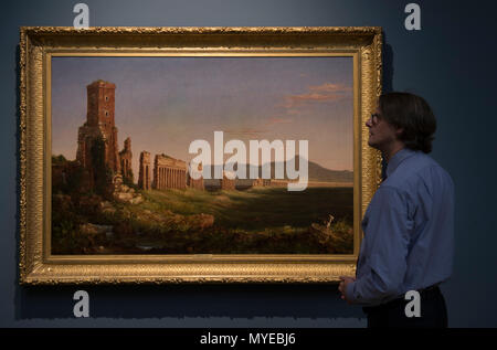 National Gallery, London, UK. 7 June, 2018. Thomas Cole: Eden to Empire. Tthe American wilderness is seen through the eyes of British-born Thomas Cole (1801–1848). Thomas Cole's work depicts nature at its most powerful and vulnerable. His paintings glory in the unique terrain of the American Northeast – largely still unspoiled in his time. Image: Aqueduct near Rome, 1832. Mildred Lane Kemper Art Museum, Washington University in St. Louis. Credit: Malcolm Park/Alamy Live News. - Stock Photo