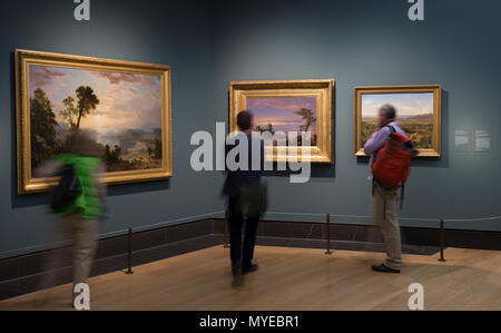 National Gallery, London, UK. 7 June, 2018. Thomas Cole: Eden to Empire. Tthe American wilderness is seen through the eyes of British-born Thomas Cole (1801–1848). Thomas Cole's work depicts nature at its most powerful and vulnerable. His paintings glory in the unique terrain of the American Northeast – largely still unspoiled in his time - while serving as a cautionary tale about the use of natural resources in an increasingly industrial age. Credit: Malcolm Park/Alamy Live News. - Stock Photo