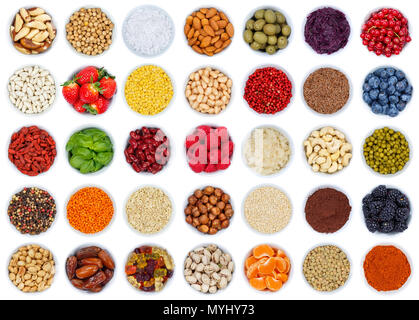Collection of fruits and vegetables berries from above isolated on a white background - Stock Photo