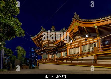 Night view of the Shinobazunoike Bentendo Temple, Ueno Park, Tokyo, Japan - Stock Photo