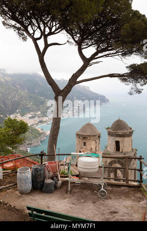 View over the Amalfi Coast from Villa Rufolo gardens with poor weather and building work in progress, Ravello, The Amalfi Coast, Campania, Italy - Stock Photo