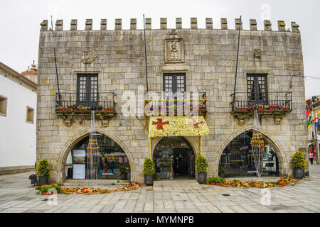 Street view of  gothic town hall in Viana do Castelo center, Portugal. - Stock Photo