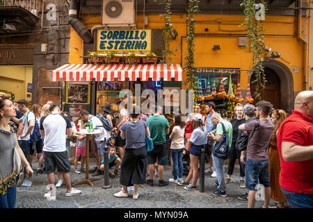 Sorbillo Esterina take-away pizzeria famous for fried pizzas on Via dei Tribunali, Naples, Campania, Italy, Europe - Stock Photo