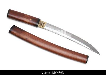 Aigushi or Tanto short Japanese sword with scabbard isolated in white backgroundAigushi or Tanto short Japanese sword with scabbard isolated in white  - Stock Photo